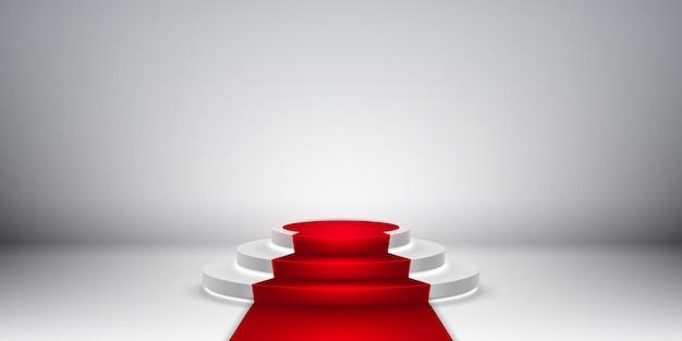Podium D'étape Rond. Scène De Podium Festive Avec Tapis Rouge Pour La Cérémonie De Remise Des Prix. Vecteur Premium