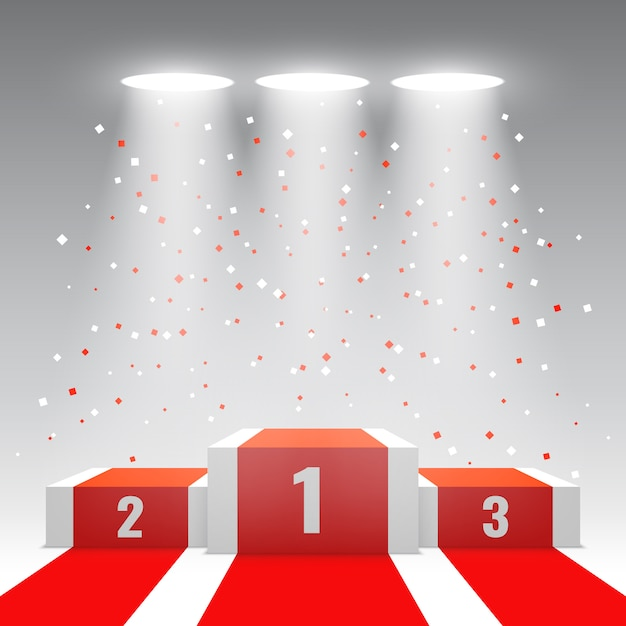 Podium Des Gagnants Blancs Avec Tapis Rouge Et Confettis. Scène Pour La Cérémonie De Remise Des Prix. Piédestal. Illustration. Vecteur Premium