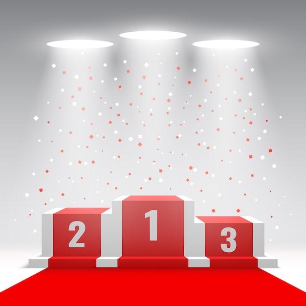 Podium Des Gagnants Blancs Avec Tapis Rouge Et Confettis. Scène Pour La Cérémonie De Remise Des Prix Avec Des Projecteurs. Piédestal. Illustration. Vecteur Premium