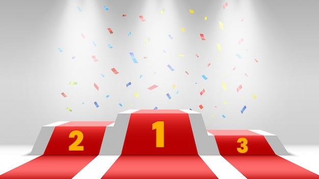 Podium Des Gagnants Blancs Avec Tapis Rouge Et Confettis. Scène De Remise Des Prix. Piédestal Avec Spots. Vecteur Premium