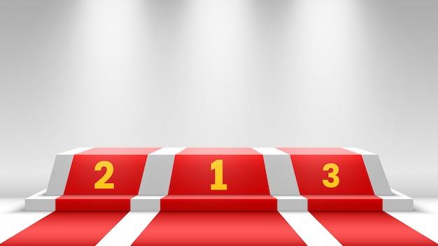 Podium Des Gagnants Blancs Avec Tapis Rouge. Scène Pour La Cérémonie De Remise Des Prix. Piédestal Avec Projecteurs. Illustration. Vecteur Premium