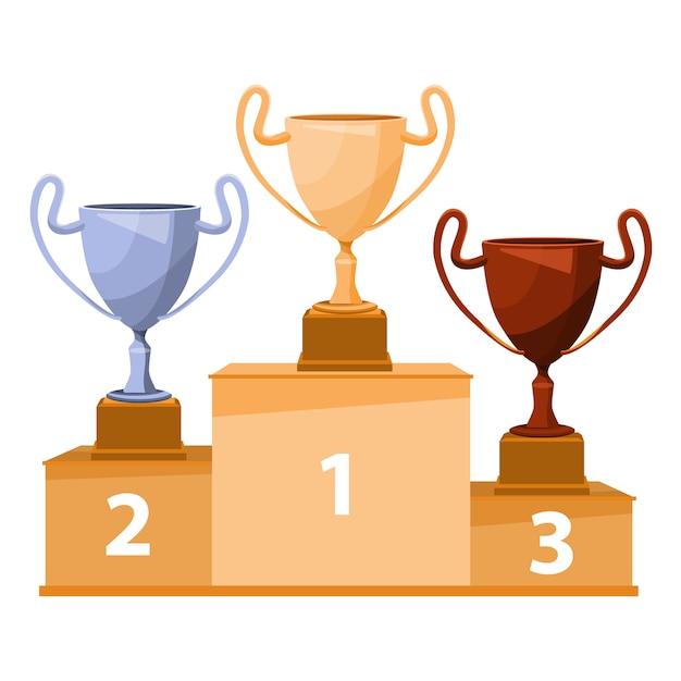 Podium des gagnants avec gobelet. coupes à trophées en or, argent et bronze. illustration de plat vector Vecteur Premium