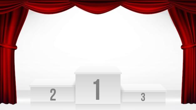 Podium des gagnants, vecteur de rideau de théâtre. piédestal de la cérémonie de remise des prix. scène blanche. plateforme vide. trophée place. compétition award event. illustration rétro réaliste Vecteur Premium