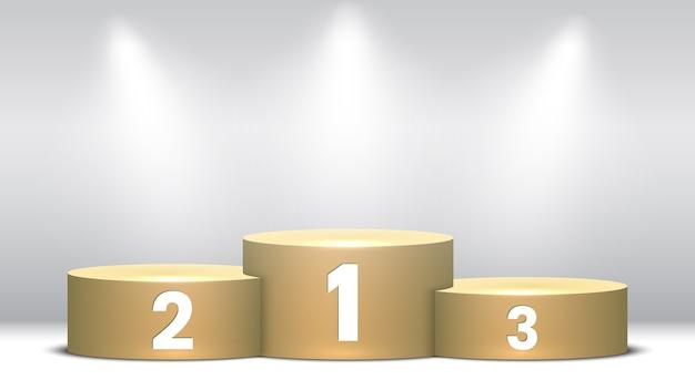 Podium Des Gagnants Vierges Avec Des Projecteurs. Piédestal. Vecteur Premium