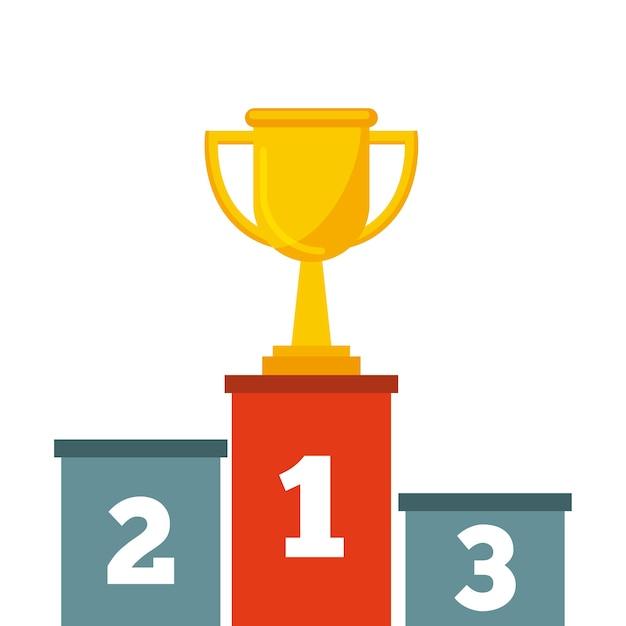 Podium Avec L'icône Du Trophée D'or | Vecteur Premium