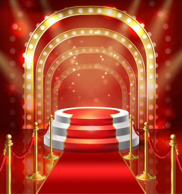 Podium D'illustration Pour Le Spectacle Avec Tapis Rouge. Scène Avec éclairage De La Lampe Pour Se Lever Vecteur gratuit