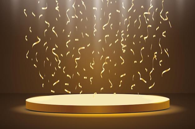 Podium D'or Avec Un Projecteur Sur Un Fond Sombre, Avec Du Brouillard Et Des Confettis, La Première Place, La Renommée Et La Popularité. Vecteur Premium