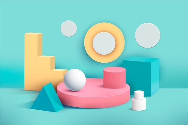 Podium Pastel En Effet 3d Vecteur gratuit