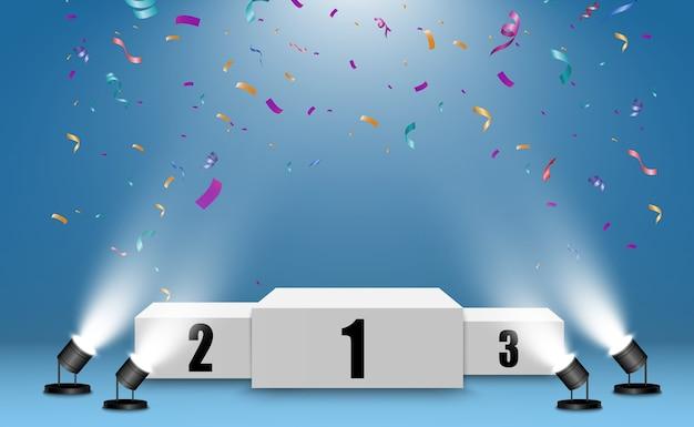 Podium Réaliste Ou Plateforme Des Gagnants. Piédestal Avec Des Confettis Sur Fond Blanc. Vecteur Premium