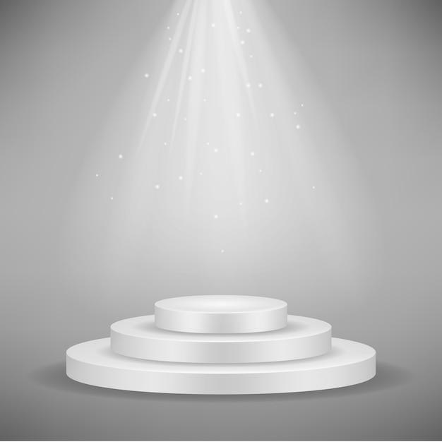 Podium rond blanc réaliste Vecteur Premium