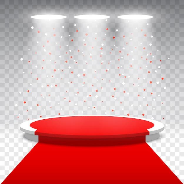 Podium Rond Blanc Avec Tapis Rouge Et Confettis Sur Fond Transparent. Scène Pour La Cérémonie De Remise Des Prix Avec Des Projecteurs. Piédestal. Illustration. Vecteur Premium