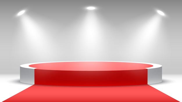 Podium Rond Avec Tapis Rouge Piédestal Avec Projecteurs Vecteur Premium