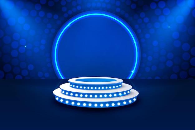 Podium De Scène Avec éclairage, Scène De Podium Avec Pour Cérémonie De Remise Des Prix Sur Fond Bleu Vecteur Premium