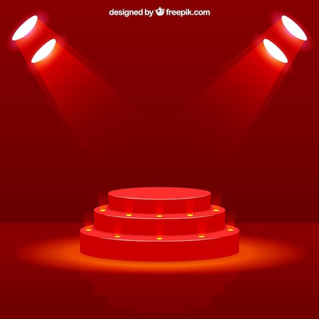 Podium de scène réaliste avec un éclairage élégant Vecteur gratuit