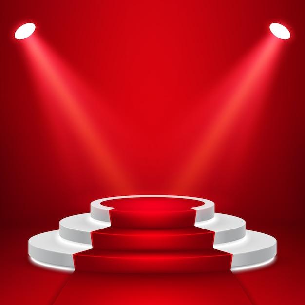 Podium De Scène Rond Avec Lumière. Scène De Podium Festive Avec Tapis Rouge Vecteur Premium