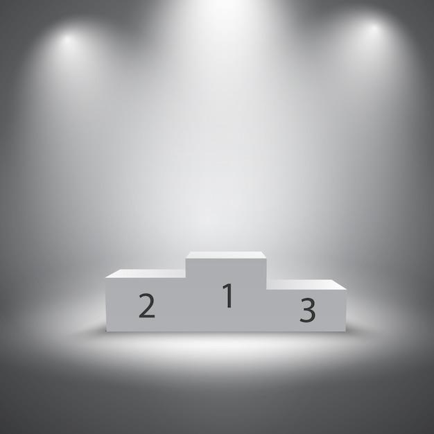 Podium des vainqueurs de sports illuminés Vecteur gratuit