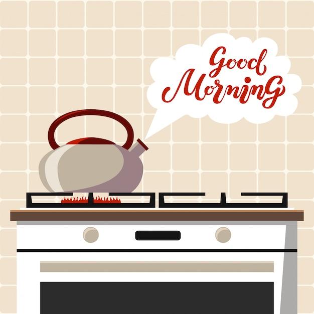 Le poêle avec bouilloire bouillante et bonjour texte, lettrage dessiné à la main Vecteur Premium
