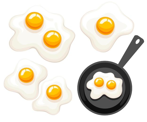 Poêle à Frire, Vue De Dessus. Pan Avec Oeuf Au Plat. Illustration Sur Fond Blanc Vecteur Premium