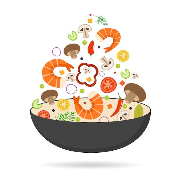 Poêle à Wok, Tomate, Paprika, Poivre, Champignon, Crevette. Nourriture Asiatique. Légumes Volants Aux Fruits De Mer. Vecteur Premium