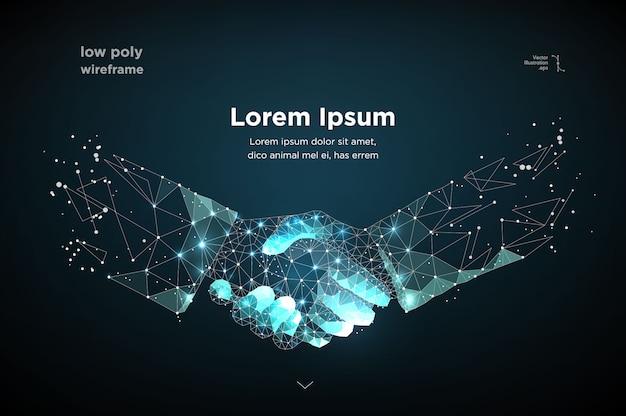 Poignée de main abstraite image deux mains sous la forme d'un ciel étoilé ou de l'espace Vecteur Premium