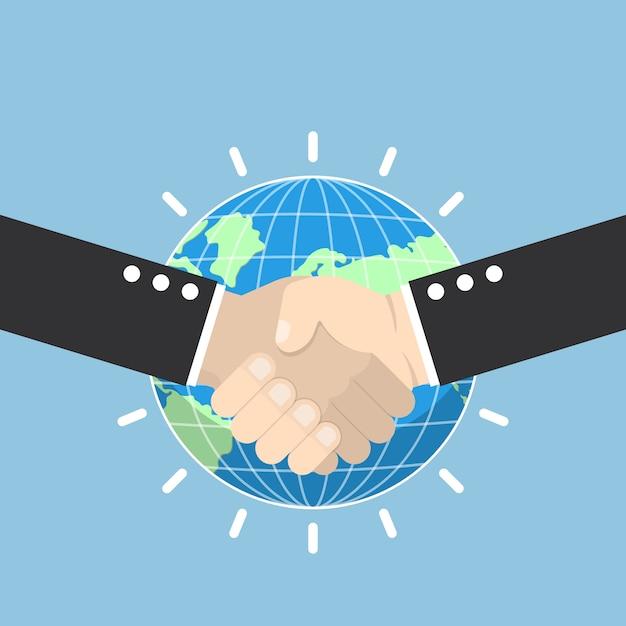 Poignée De Main D'affaires Avec Globe Terrestre Vecteur Premium