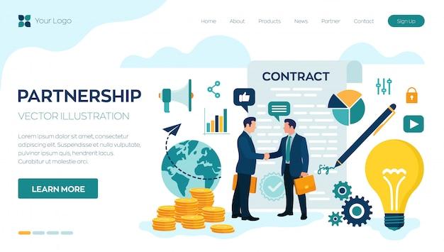 Poignée de main de deux hommes d'affaires page de destination Vecteur Premium