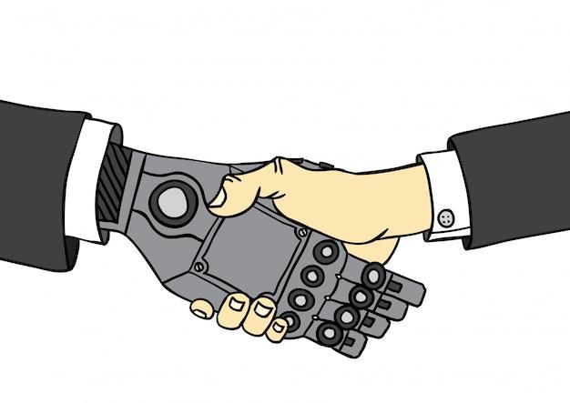 Poignée de main homme et robot Vecteur Premium