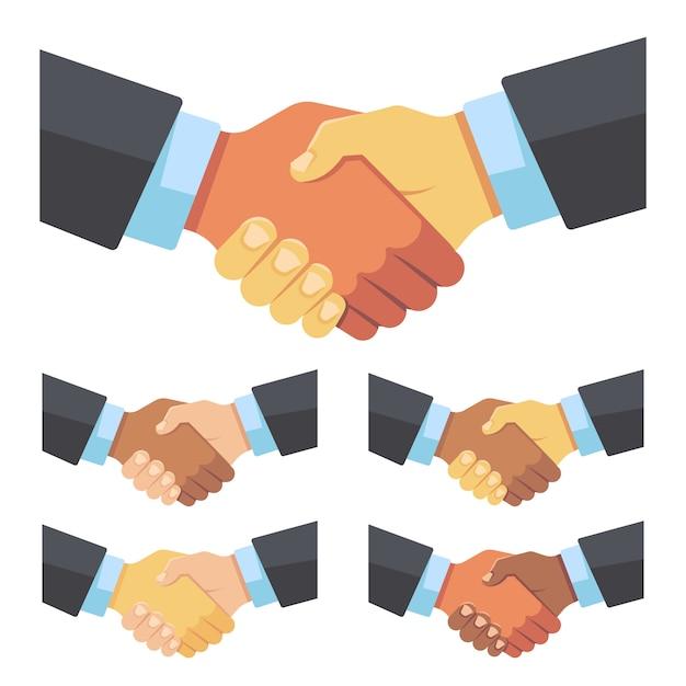 Poignée de main d'hommes d'affaires de différentes races Vecteur Premium