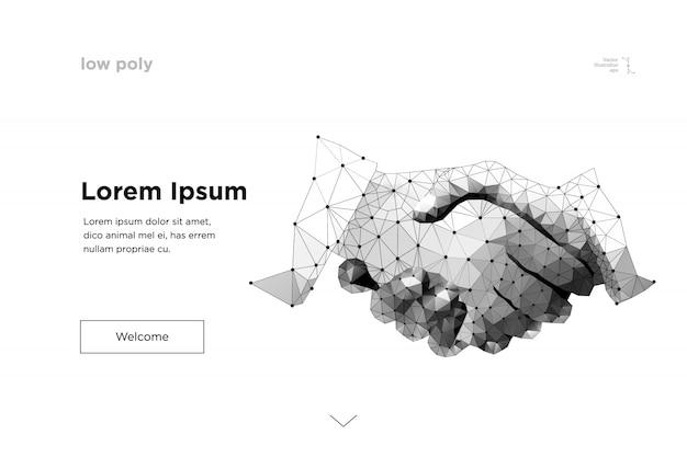 Poignée de main. ligne de maille abstraite et origami business handshake origami Vecteur Premium