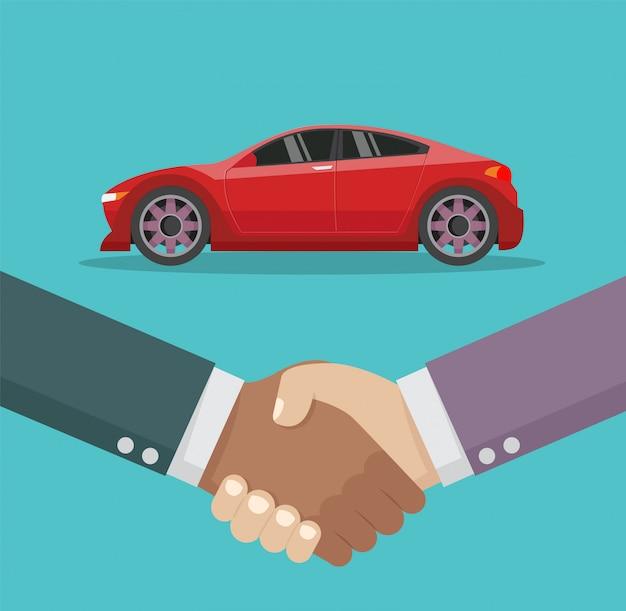 Poignée de main vendeur de voitures et voiture neuve. Vecteur Premium