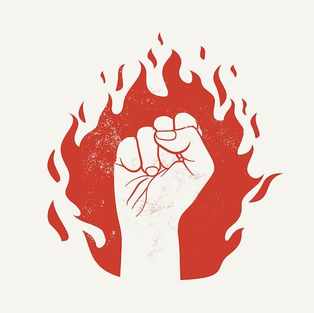 Le Poing Levé Sur La Silhouette De La Flamme De Feu Rouge. Démonstration De Protestation Ou Concept De Pouvoir. Vecteur Premium