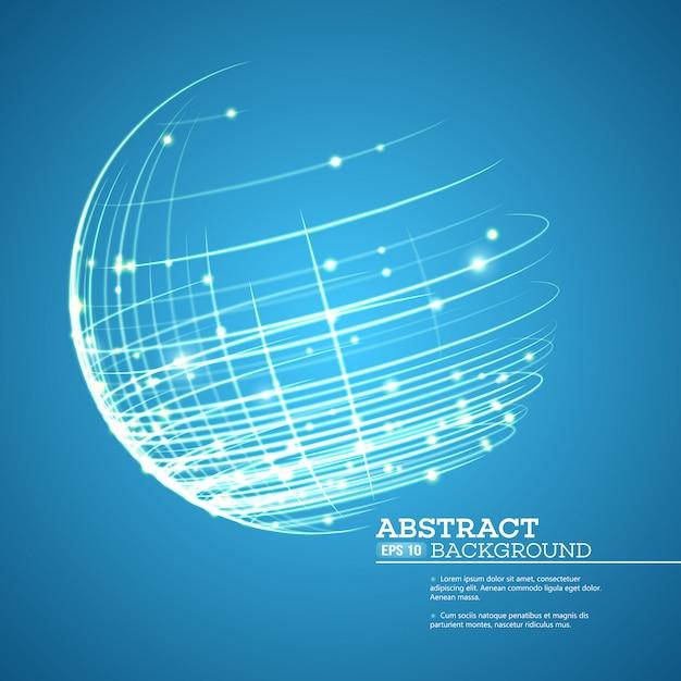 Point et courbe construit la sphère wireframe Vecteur Premium