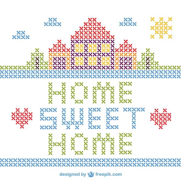 Point de croix maison de vecteur sweet home t l charger - Maison point de croix ...