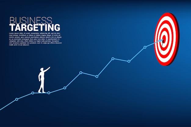 Point d'homme d'affaires à la cible sur le graphique en ligne au centre Vecteur Premium