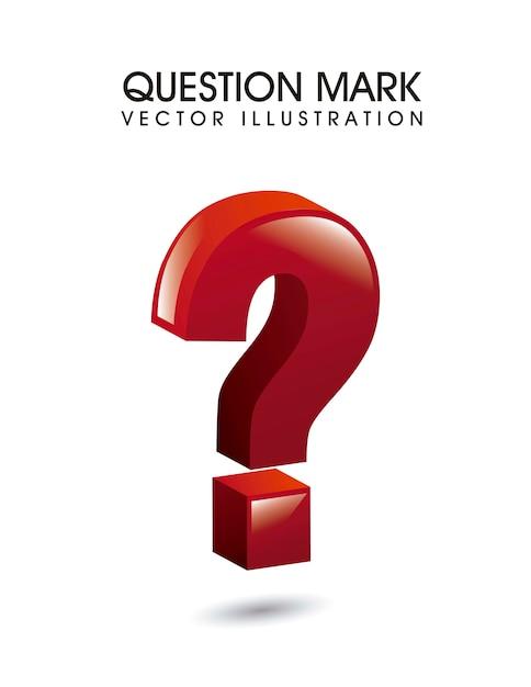 Point d'interrogation 3d sur illustration vectorielle fond blanc Vecteur Premium