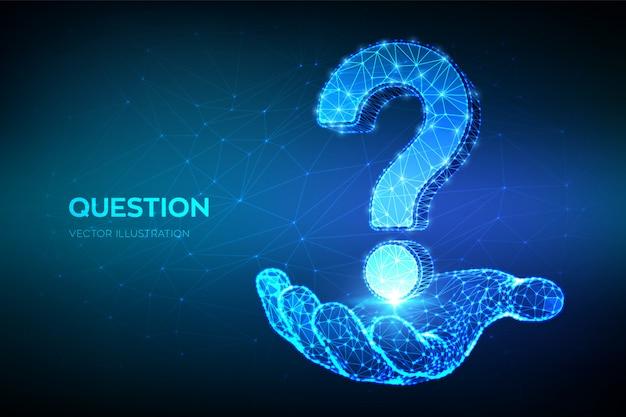 Point D'interrogation. Abstrait Poly Faible Question Signe Dans La Main. Demander Le Symbole. Vecteur Premium