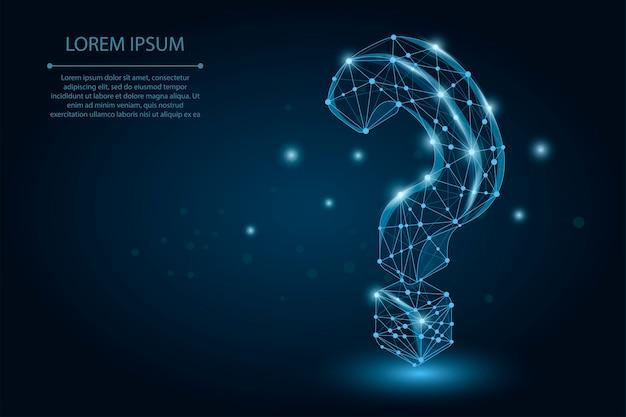 Point point d'interrogation composé de points et de lignes Vecteur Premium