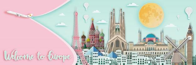 Point de repère célèbre pour la carte de voyage en europe Vecteur Premium