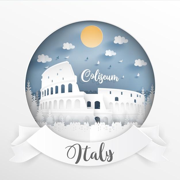 Point de repère de l'italie et des bâtiments avec cadre blanc et étiquette. Vecteur Premium