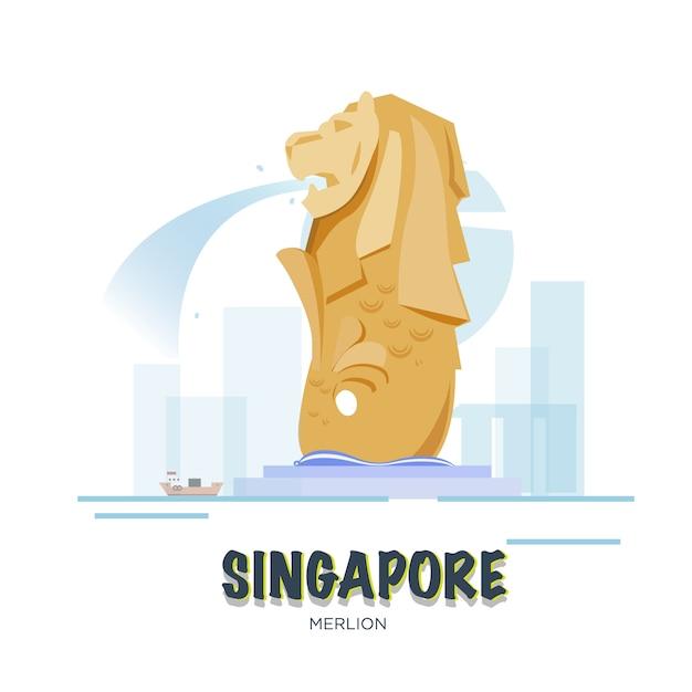 Point De Repère De Singapour. Ensemble Asiatique. Vecteur Premium