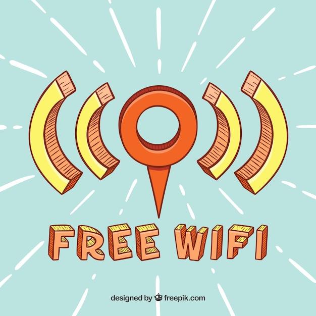 Point de wifi gratuit avec style dessiné à la main Vecteur gratuit