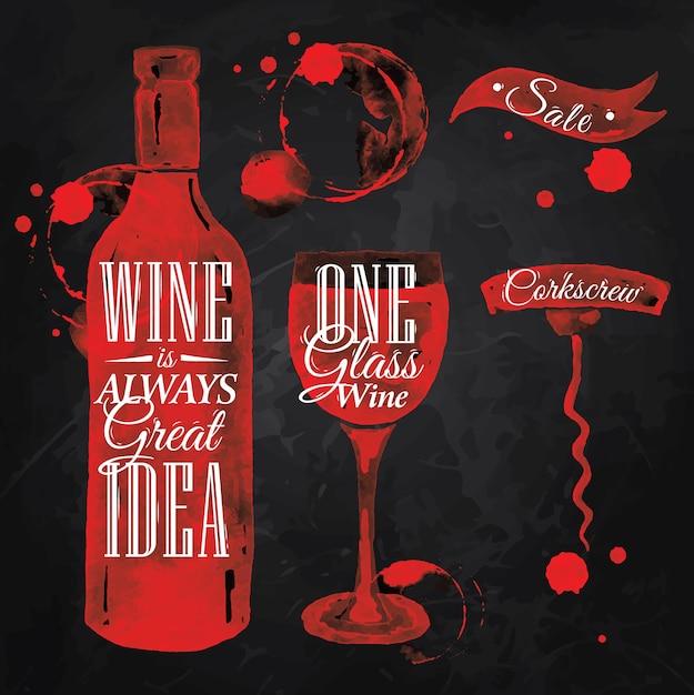 Pointer dessiné pour la craie de vin Vecteur Premium