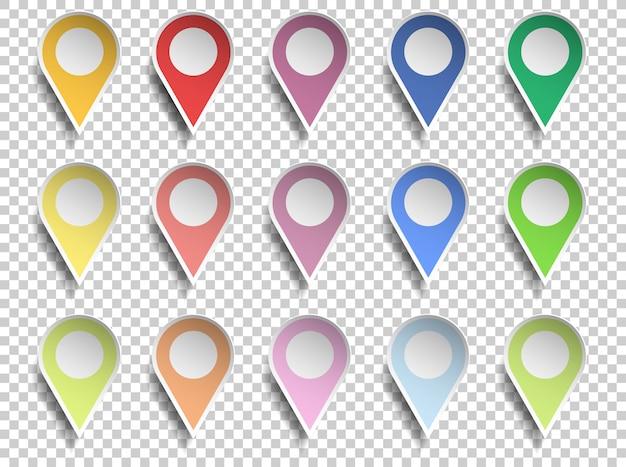 Pointeur De Carte De Différentes Couleurs Avec Centre De Cercle, Style De Coupe De Papier Sur Fond Transparent Vecteur Premium