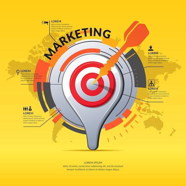 Pointeur De Carte Icône 3d Réaliste. Infographie De L'entreprise De Marketing Et Graphique Avec Carte Du Monde Sur Fond. Vecteur Premium
