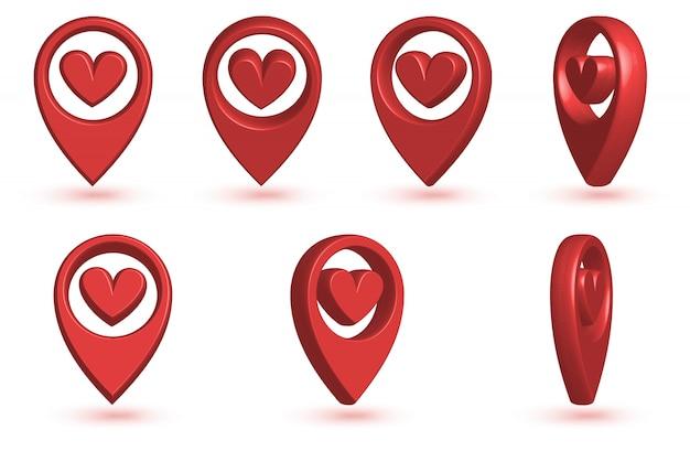 Pointeur De Carte Avec L'icône Du Cœur. Vecteur Premium