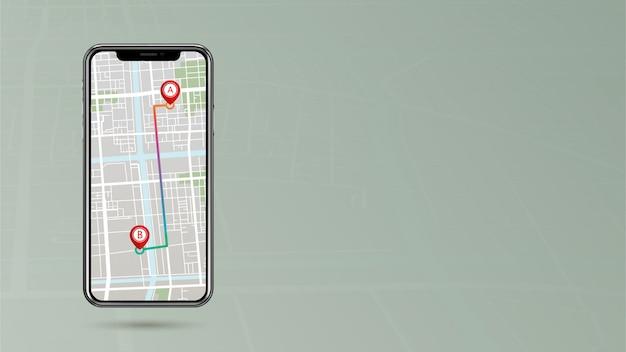 Pointeur gps indiquant le point d'acheminement a à b sur un téléphone portable avec espace latéral Vecteur Premium