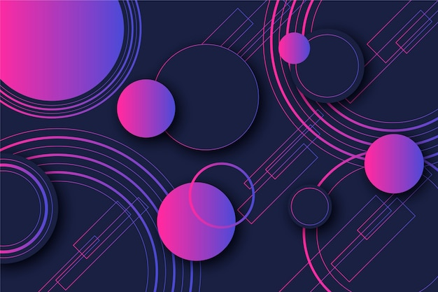 Points Et Cercles Violets Dégradés Formes Géométriques Sur Fond Sombre Vecteur Premium