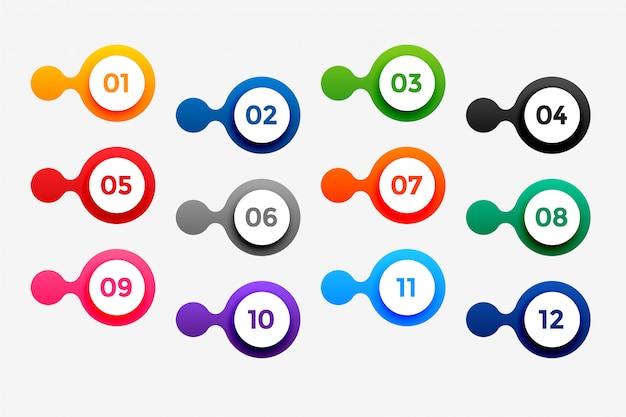 Points De Puce De Nombre élégant Dans Un Style Circulaire Vecteur gratuit