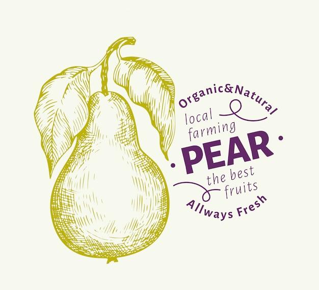 Poire aux feuilles de fruits Vecteur Premium