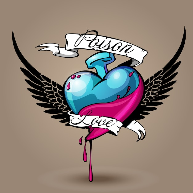 Poison d'amour Vecteur Premium